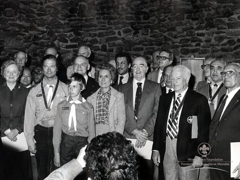 Primera recepción Fundación Scout Mundial 1982, kolmaarden, Suecia.